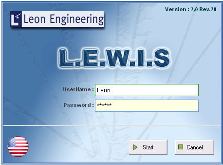 LEWIS Login Screen